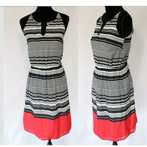 Banana Republic Navy White Coral Striped S…